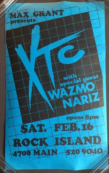 XTC - USA 1980 Gig Flyer/Poster + Wazmo Nariz