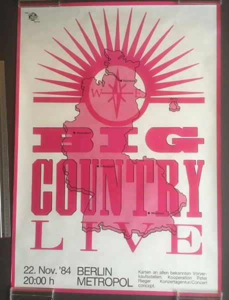 Big Country - Original Gig Poster Berlin Metropol 22.Nov. 1984